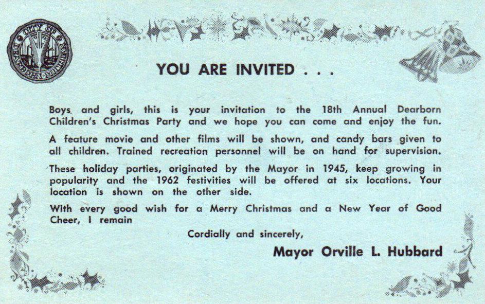 Dearborn Children's Christmas Celebration in 1962